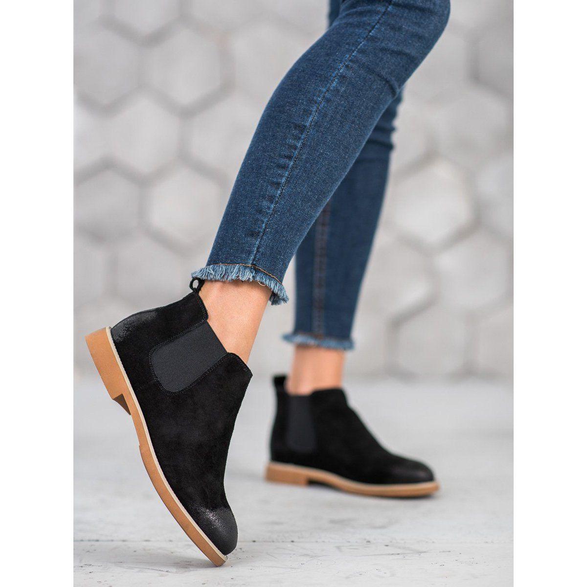 Sds Skorzane Sztyblety Czarne Jodhpur Boots Black Boots Boots