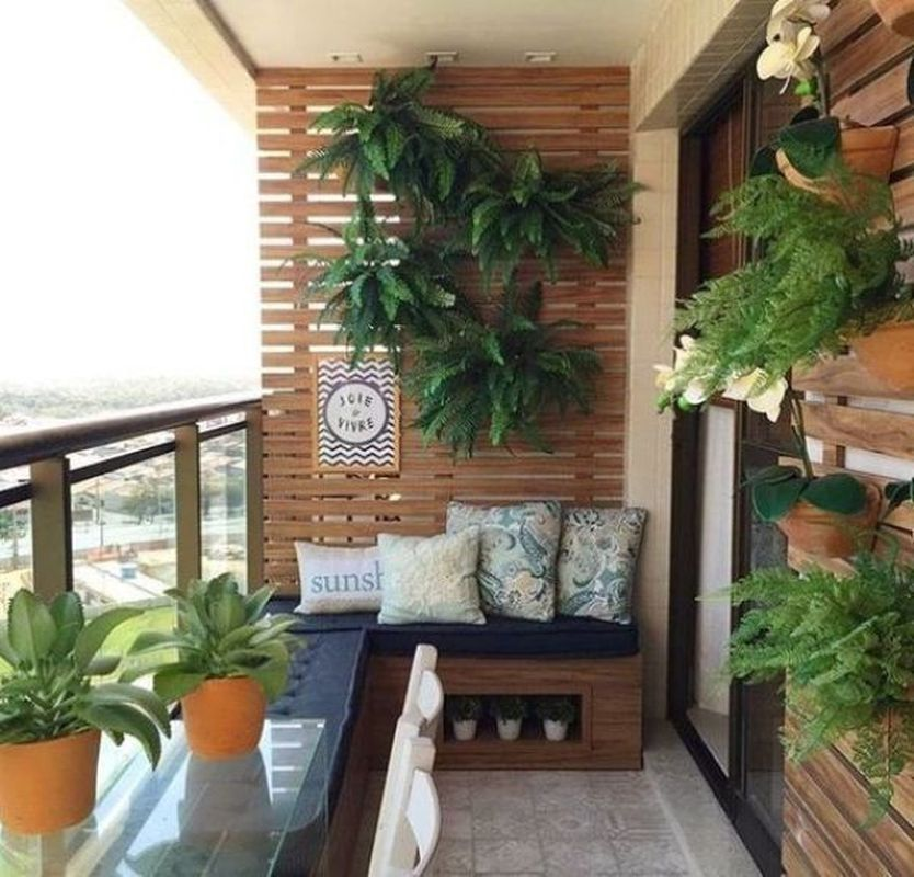 Wonderful Small Apartment Balcony Decor Ideas with Beautiful Plant images