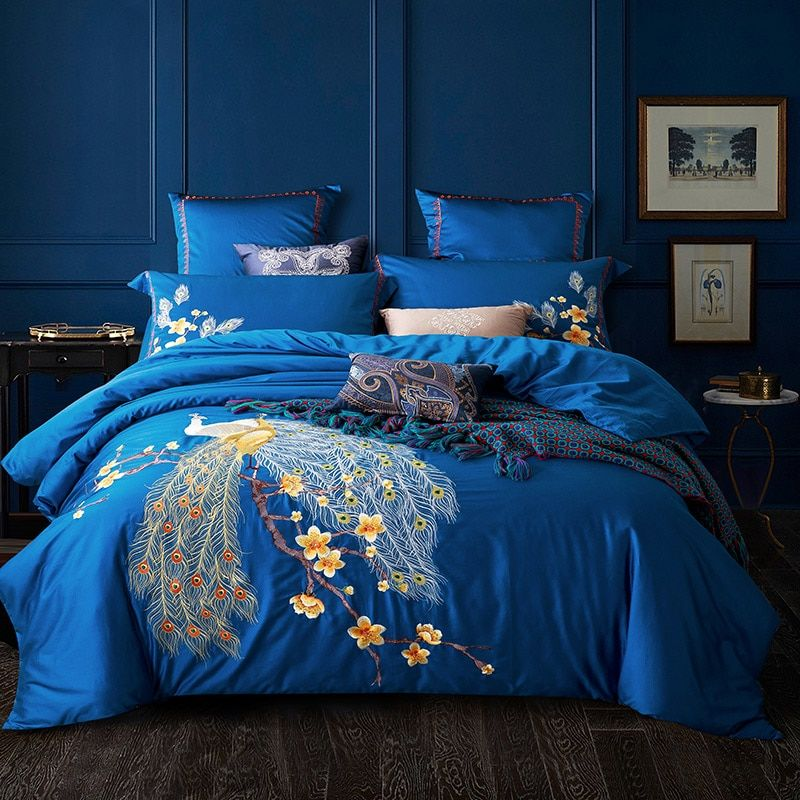 Embroidered Egyptian Cotton Bedding Sets Queen King Size