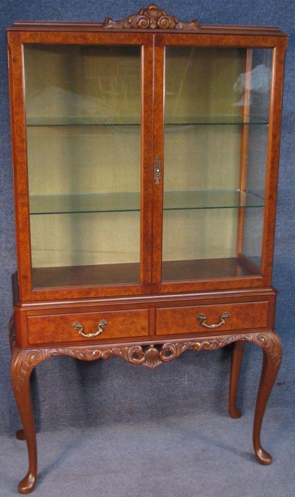 1930s Queen Anne Style Burr Walnut U0026 Walnut 2 Door Display Cabinet # QueenAnne #DisplayCabinet