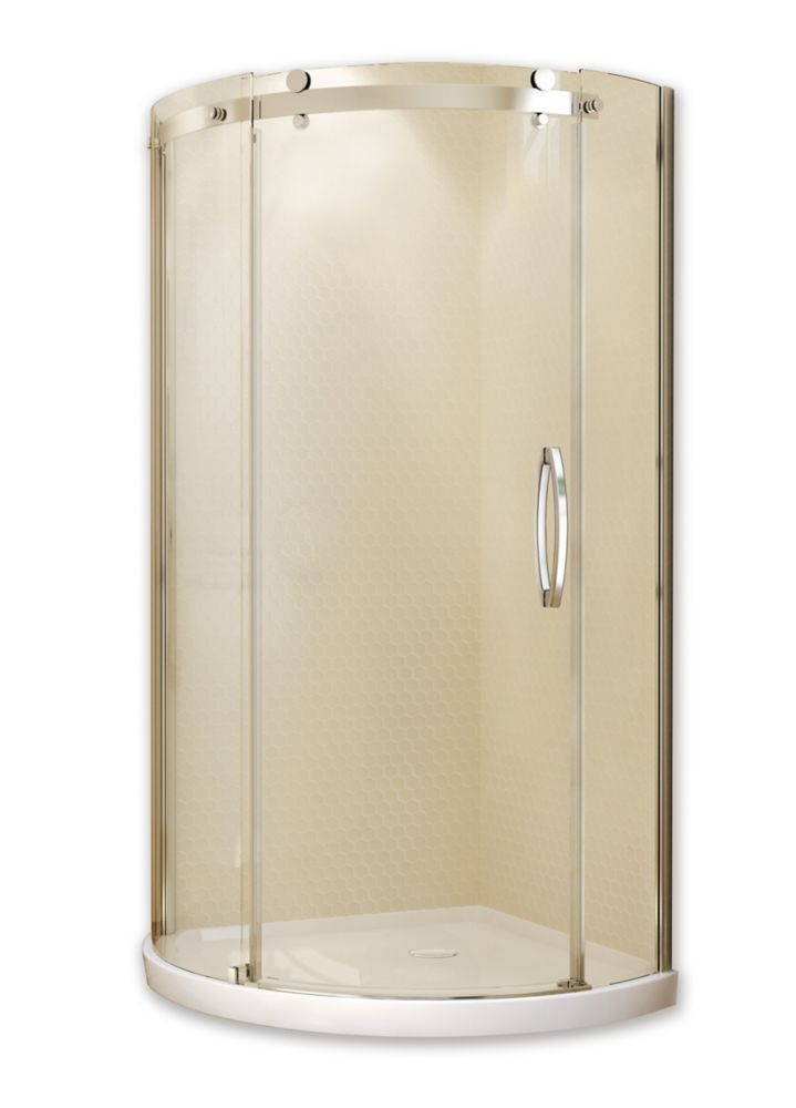 Olympia Corner Fit 36 Inch X 77 1 2 Round Shower Stall With Right Hand Tempered Gl Door