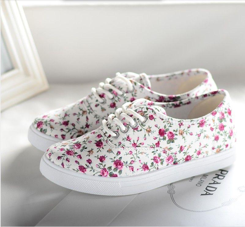 2bdfe4c4b6d 2014 Womens floral canvas shoes lace low floral sneakers flats canvas  single shoes flat heel casual sport shoes - 15% off