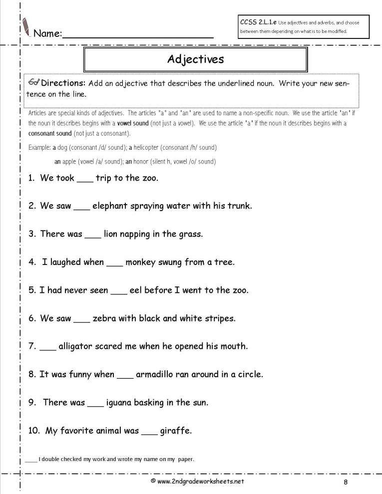 12 Adjectives And Nouns Worksheets For 2nd Grade Grade With