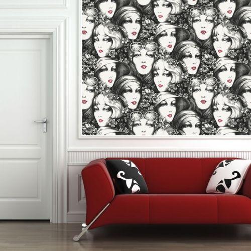 Black And White Vintage Faces Custom Digital Wallpaper Custom Digital Wallpaper And Borders Wallpaper And Tiles Contemporary Wallpaper Tile Wallpaper