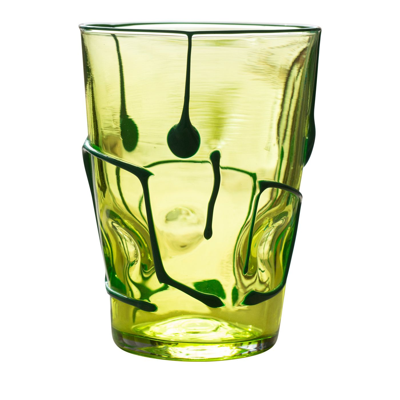 Six exquisite hand-blown Medio Graffio Green Murano glasses from Scuola Abate Zanetti.