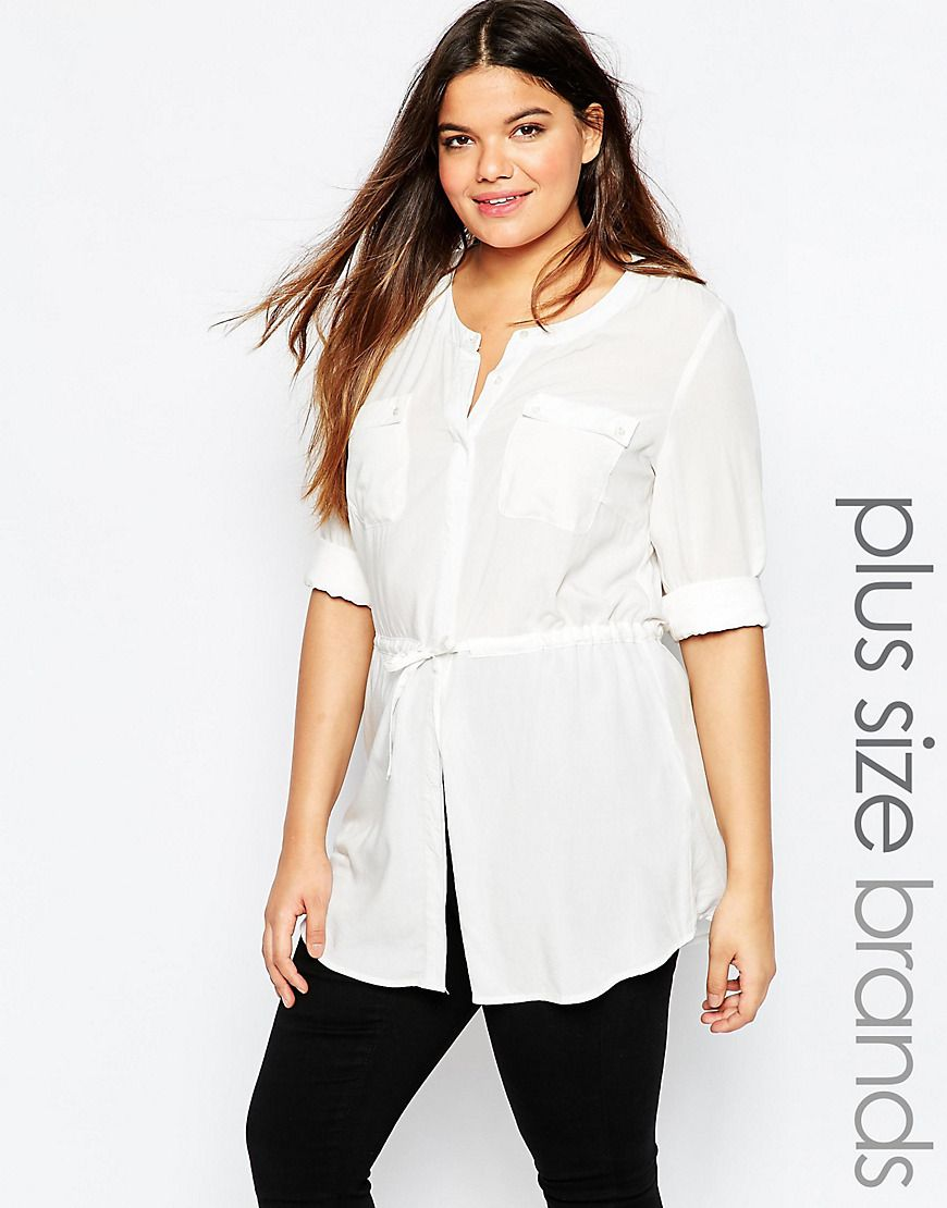 Junarose Womens Drawstring Blouse With Pocket Detail White - Shirts & Tops