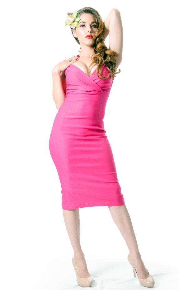 Fuchsia Diva Wiggle Dress by Rock Steady  3b8c25a52