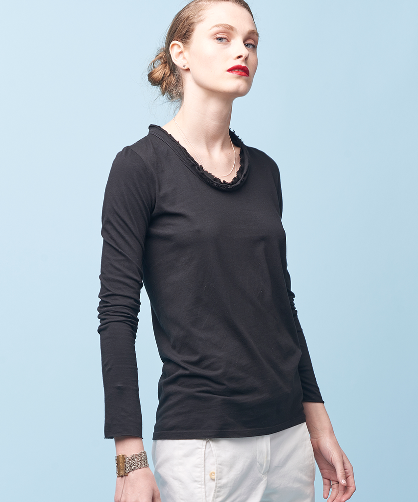 organic cotton long sleeve tee wsilk raw edge trim and the lph