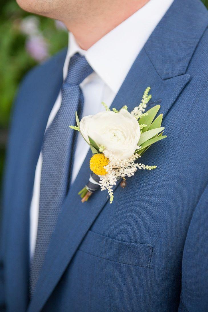 White Ranunculus Boutonniere on Blue Suit | Mikkel Paige Photography ...