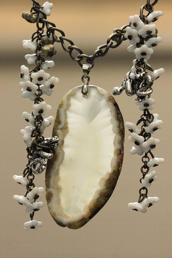 Dragon Necklace, Chalcedony Pendant Large, Elvish Elven Elf Long Necklace Bronze, White Flower Necklace, Dragon Age, Beasts Love Necklace