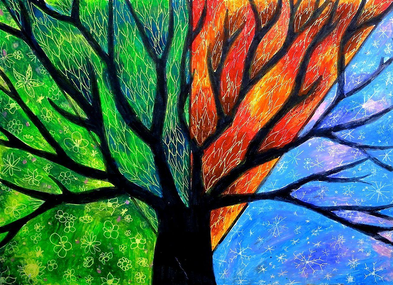 Tree Four Seasons   Schule, Zeichnen und Bilder