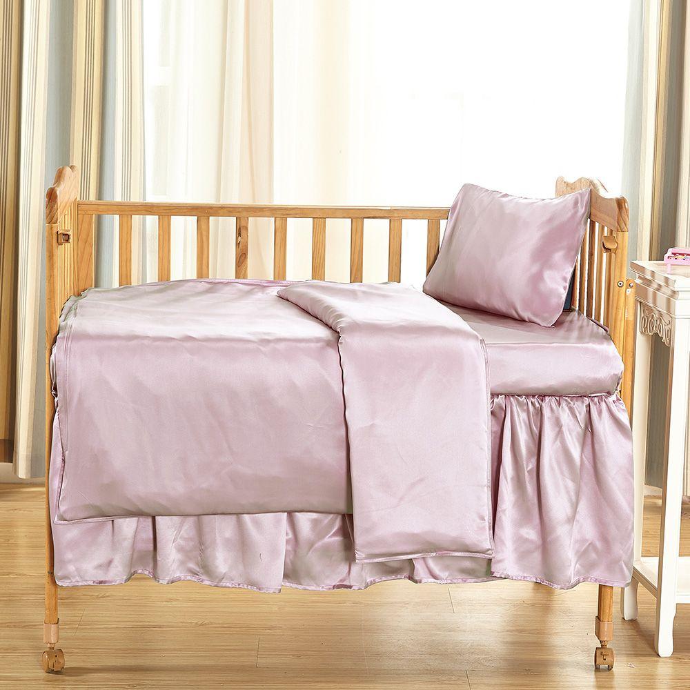 19 Momme Silk Crib Bedding Set Pink Silk Crib Bedding
