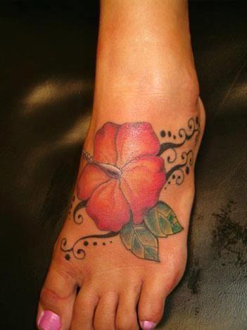 Foot Tattoo Hibiscus Redorangeyellow Tattoo Ideas Pinterest