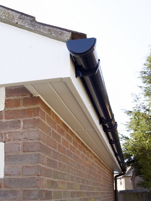 White Fascia With Black Guttering Gutters Downspout Fascia