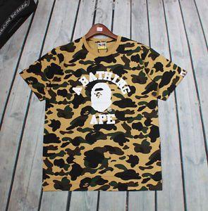3f825f79f New-Mens-Fahion-Camo-Bape-Monkey-Head-Pattern-Round-Neck-A-Bathing-Ape-T- Shirt
