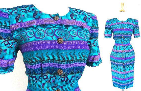 Vintage Blue Tribal Dress by VolereVintage on Etsy, $40.00