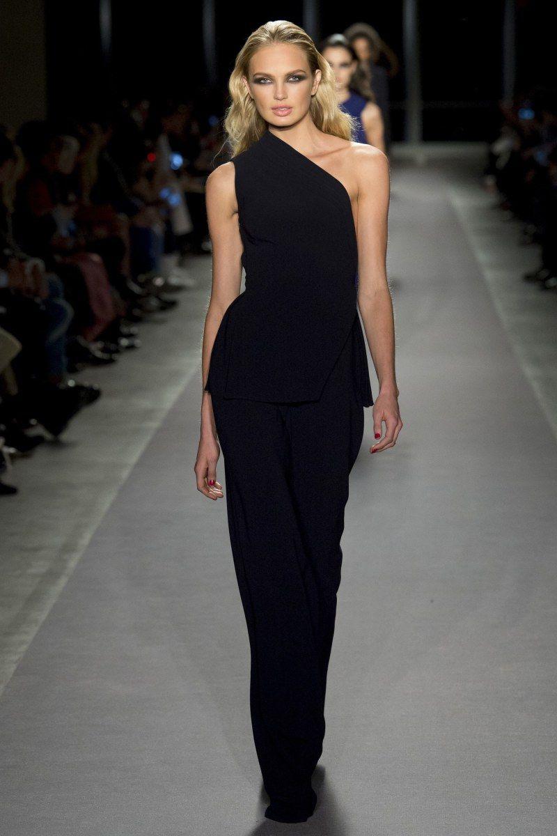 Black one shoulder dress at Brandon Maxwell FW u Ralph Lauren