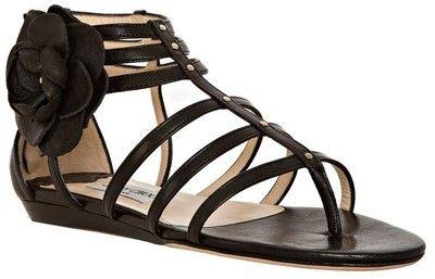 Jimmy Choo Black Leather 'oxide' Flat Gladiator Sandals - Polyvore