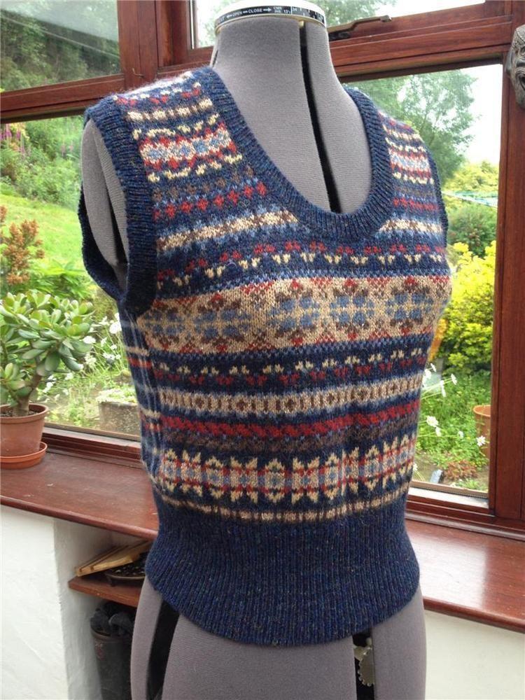 1940's style Fairisle Knitted sleeveless Pullover Vintage 90's ...