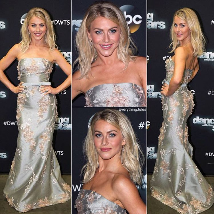"""About last night... Oh I love everything about her look! STUNNING. ✨ The dress, the makeup and her hair is longer! LOVE IT.  #juliannehough #DWTS"""