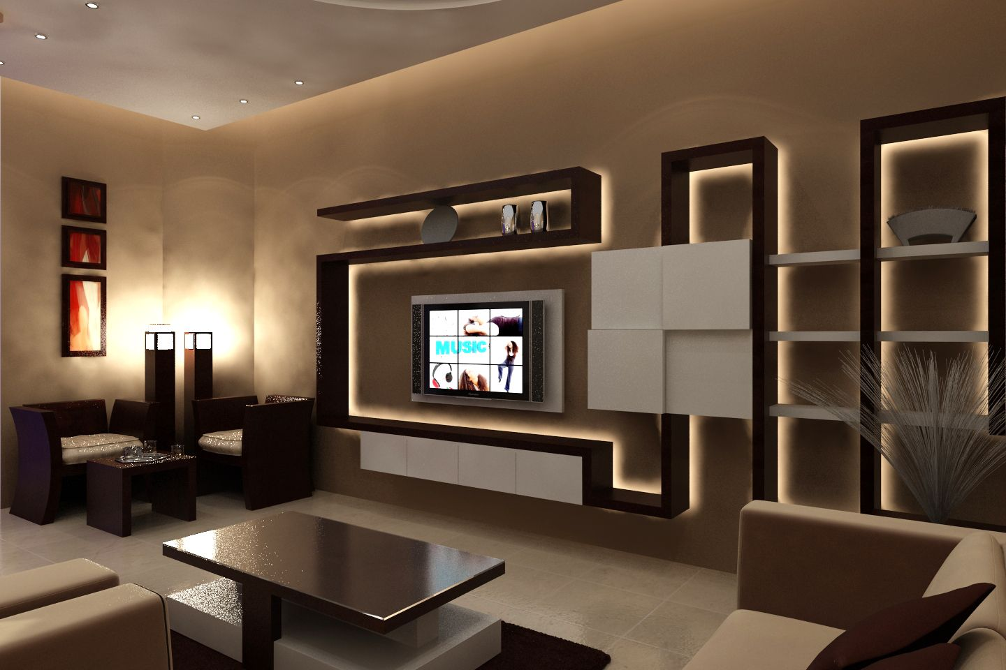 Modern Living Room Themes With Floating Tv Wall Shelf And Stylish Coffee Table On Dark Rug Living Room Themes Cozy Living Rooms Room Design