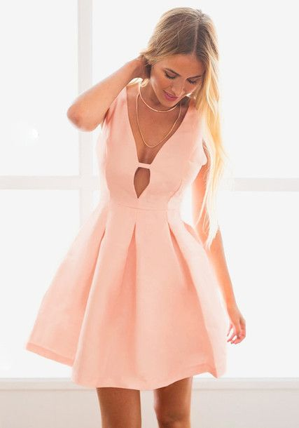 b5492070b1 Wheretoget - Pastel pink V-plunge skater dress