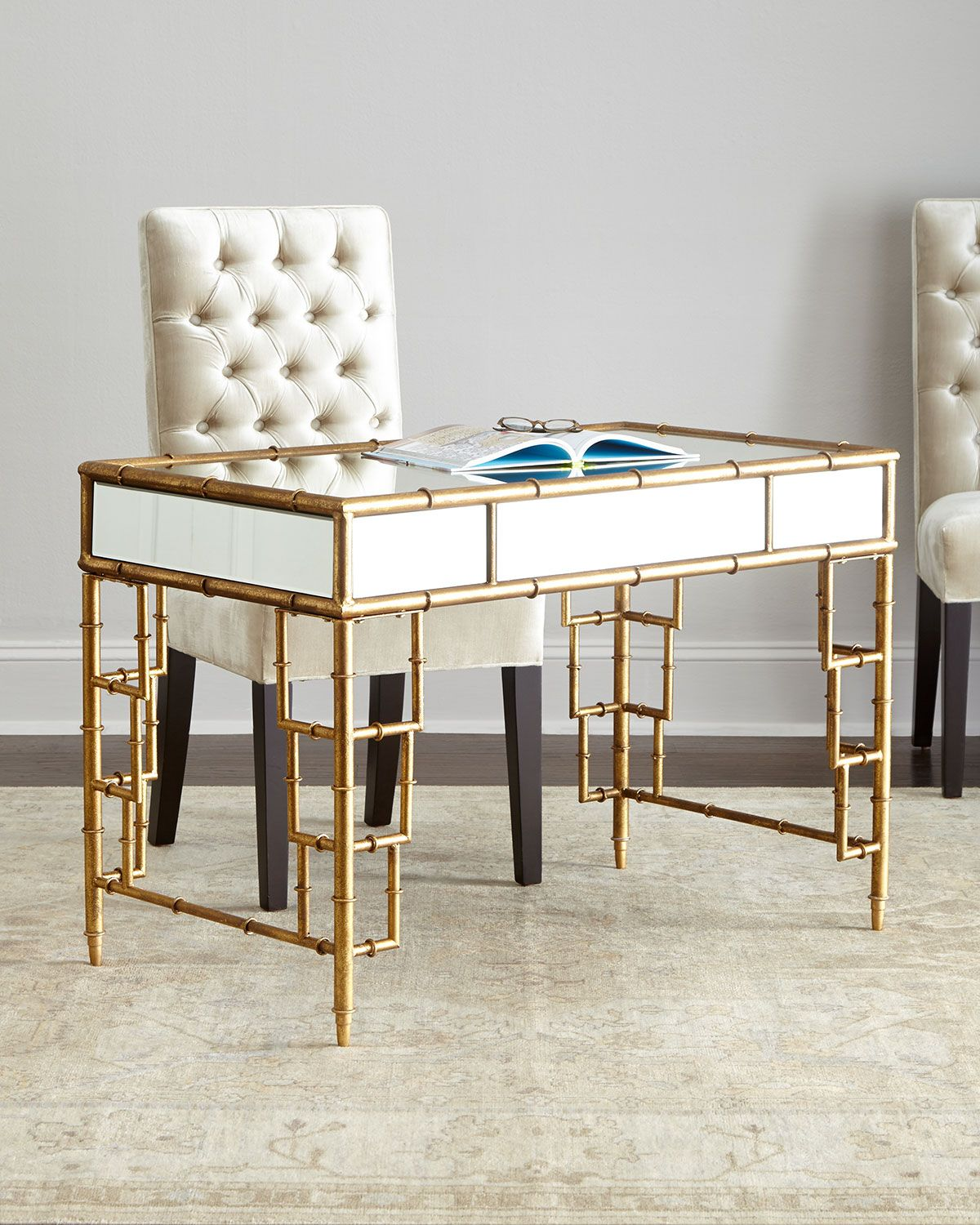 Lyle Mirrored Writing Desk Mirror Green Neiman Marcus