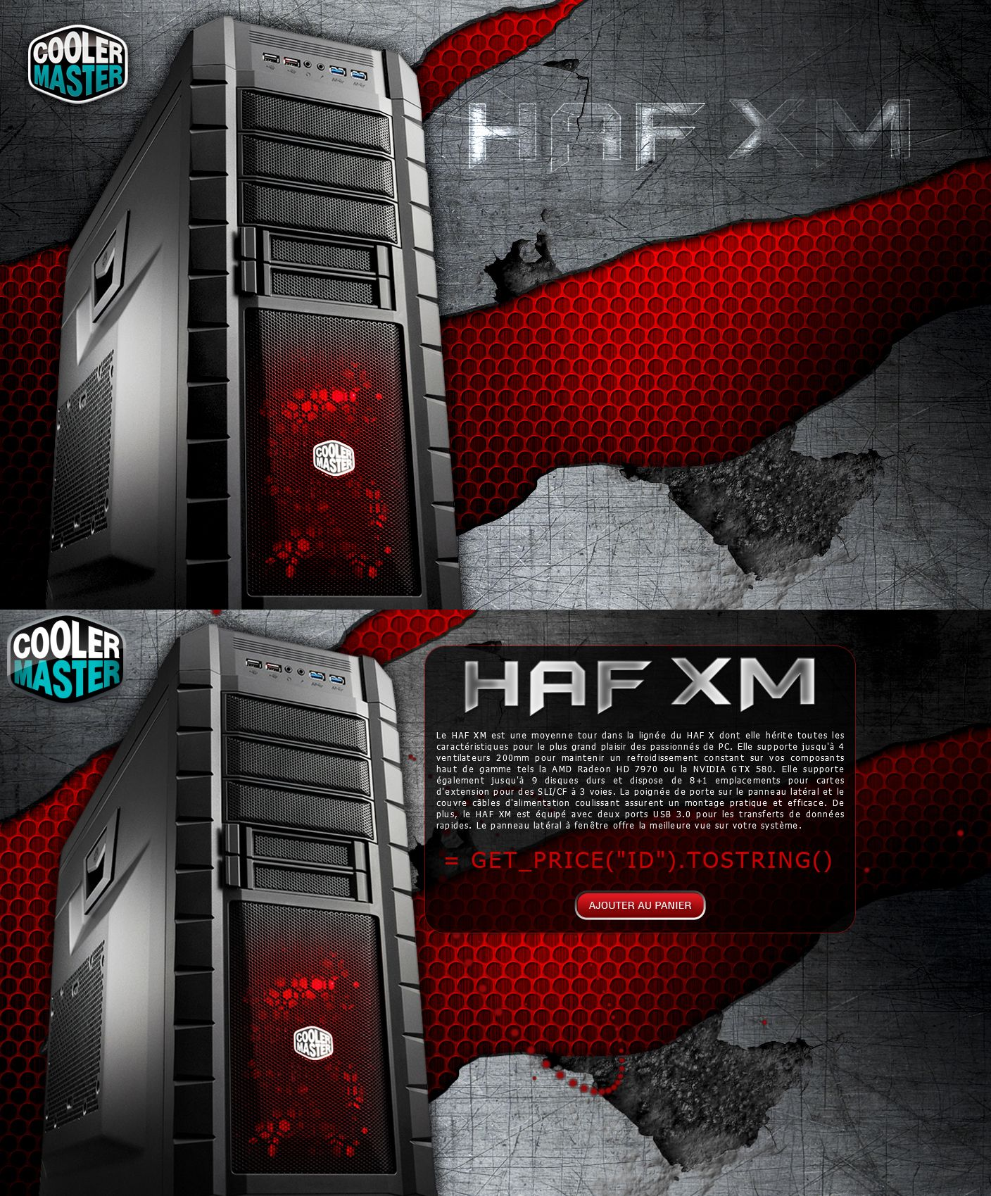 Landing Page Cooler Master HAF XM. HTML5 Particles, DotNet.  Template & Assets : Photoshop.