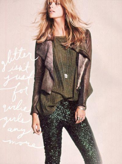 hunter green glitter pants? yes please!