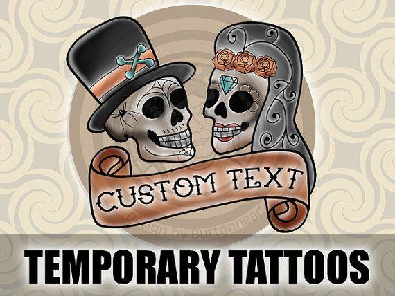 6 Sugar Skull Wedding Temporary Tattoos Day Of The Dead Favors Dia De Los Muertos On Etsy 10 00
