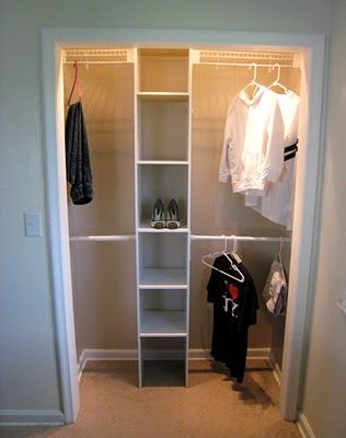 Remove old hanging rod and add shelves and extra rods for more