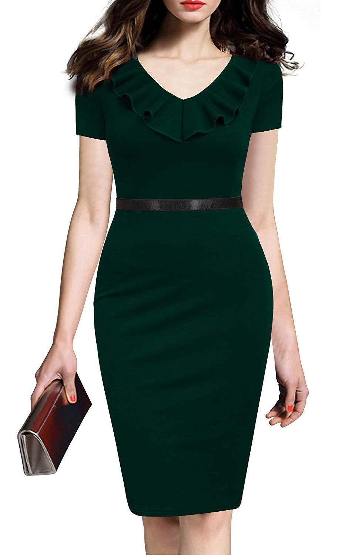 c6f4d0aaeb43b REPHYLLIS Women's Ruffles Short Sleeve Business Cocktail Pencil Dress