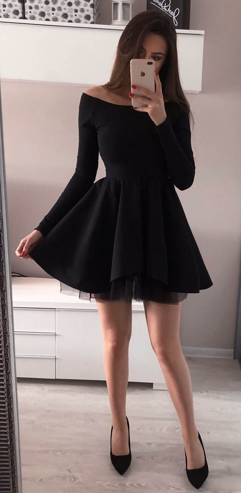 c3308ab266 Long Sleeve Black Homecoming Dresses Mini Short Red Prom Dress ...