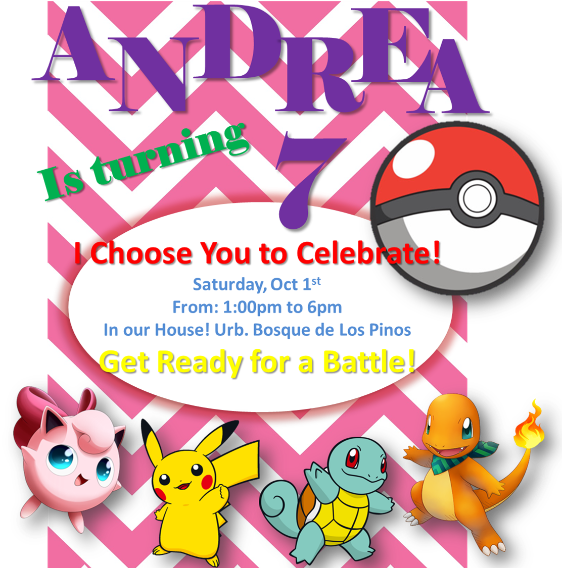 Pokemon Girls Party invitations Ideas | Andreas 7 Pokemon Party ...