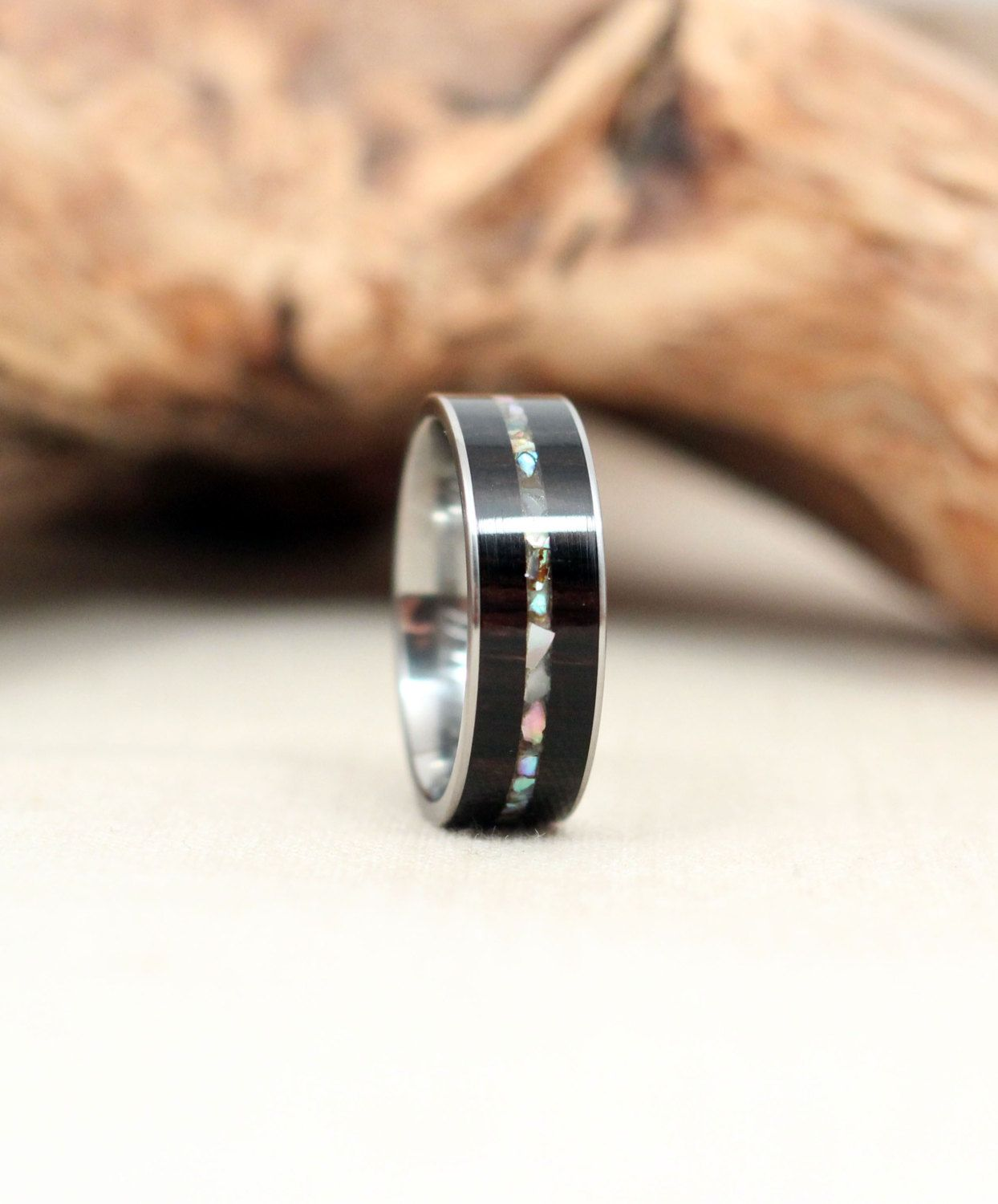 African Blackwood Wooden Ring with Mother Of Pearl Inlay