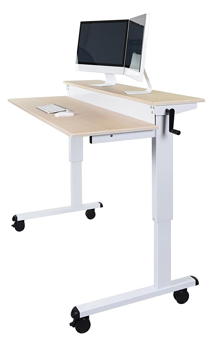 Adjustable Sit To Stand Up Desk With Heavy Duty Steel Frame 48 White Frame Birch Top Sit To Stand Stand Up Desk Desk