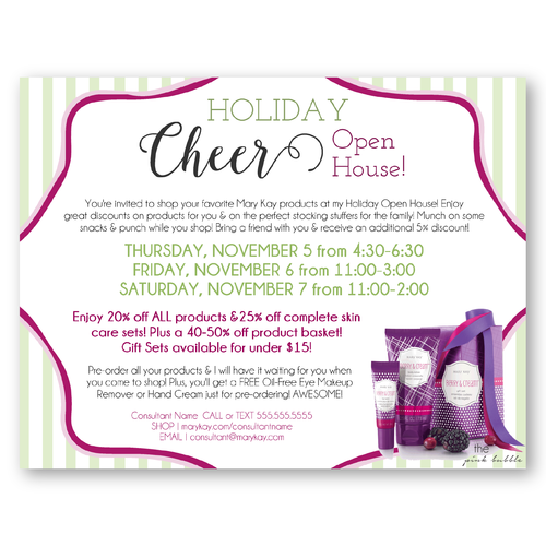 Mary Kay Holiday Cheer Open House Invitation Customize This