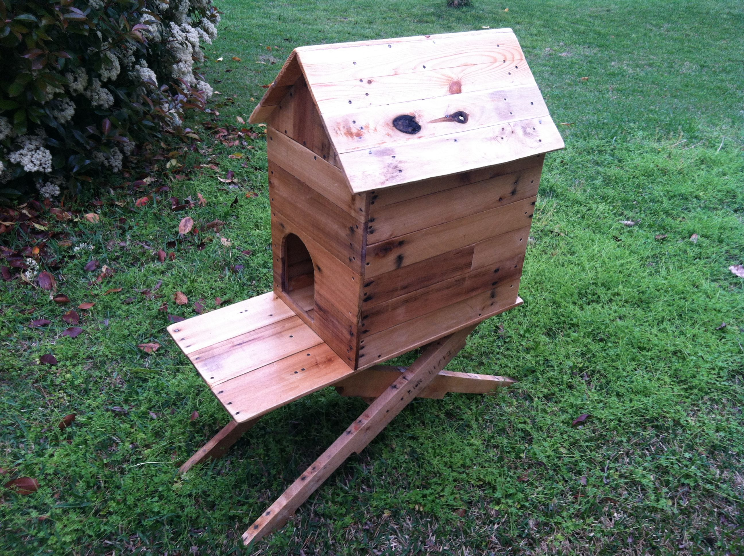 Pallet wood outdoor cat house Outdoor cat house, Outside