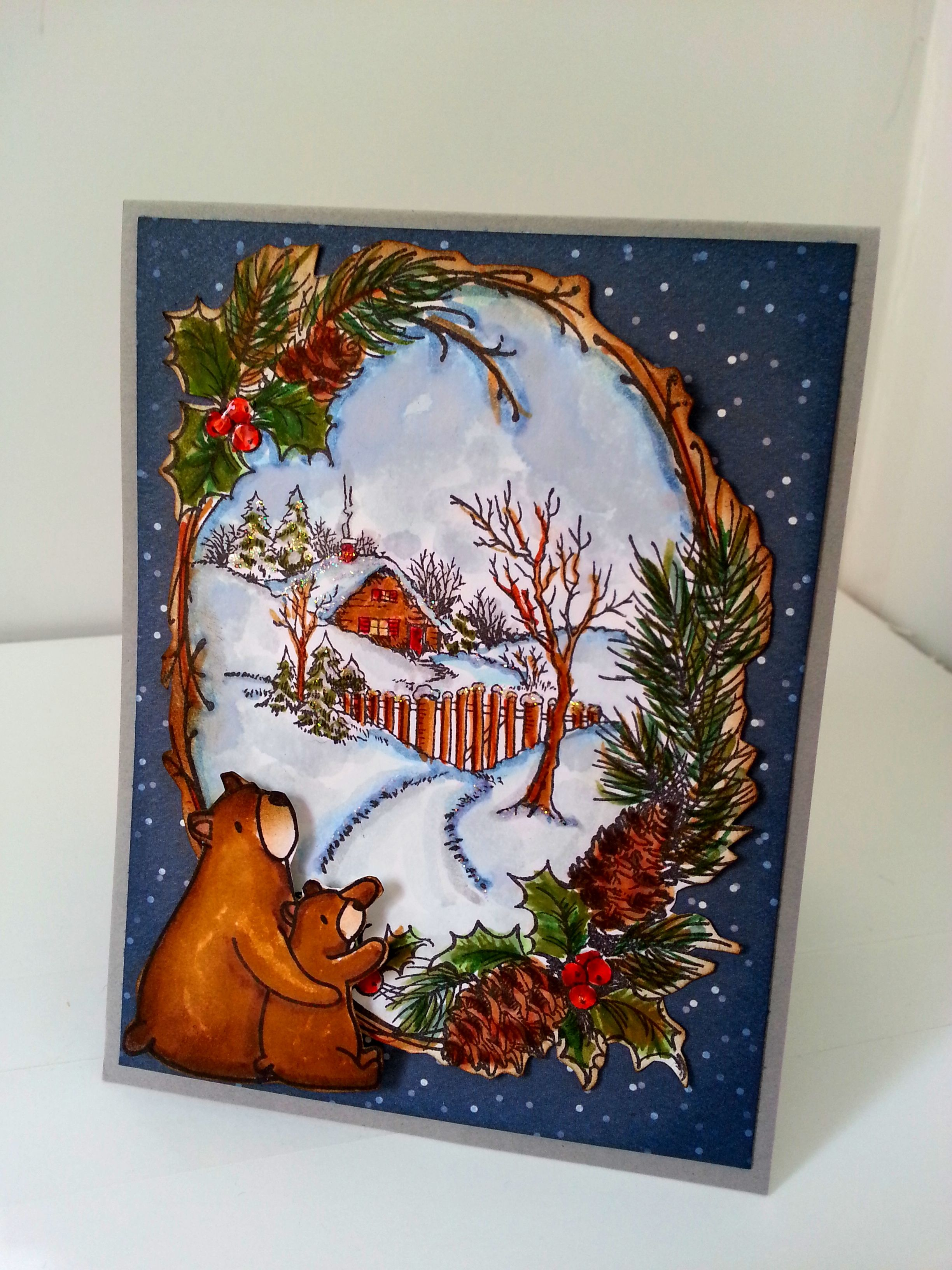 Stampendous  Christmas Cottage paired with bears from Mama Elephant Bear Hugs