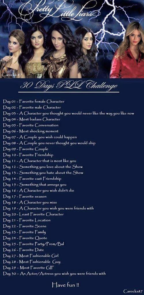 Pretty Little Liars 30 Day Challenge List