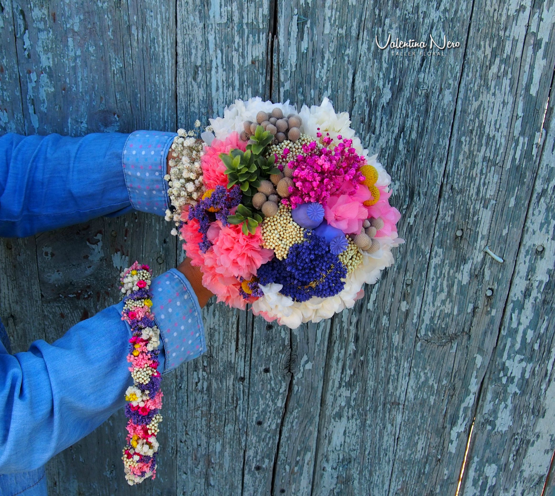 Ramo Y Corona Coloridos De Flores Preservadas Ramos De Novia  ~ Ramos De Novia Flores Preservadas