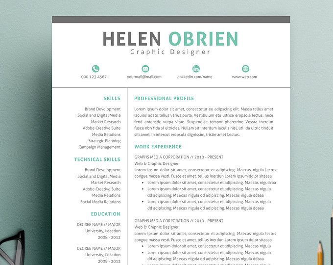 Professional Resume Template for Word and Pages 1, 2 and 3 Page