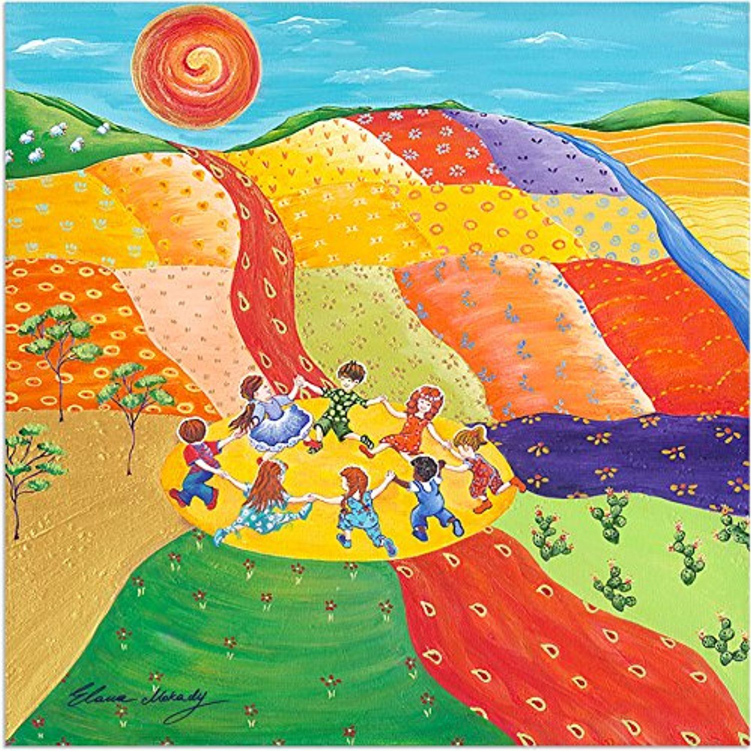 Elana Mokady Art Canvas Wall Art, Childhood Happy Dancing Children ...