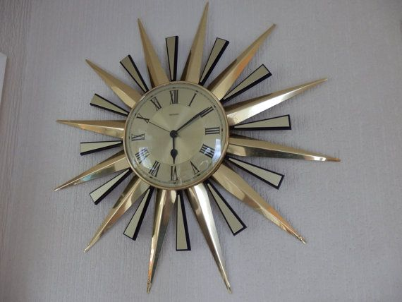 Huge Retro Gold Metamec Sunburst Wall Clock by TechnicolourRetro
