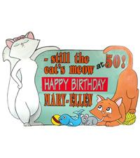 Click on Cats Lawn Card.  http://www.hellopink.ca/lawncards.php#  Rent this great 50th birthday lawn sign for only $90.00. Toronto and surrounding areas only. #30 #40 #60 #party #ideas