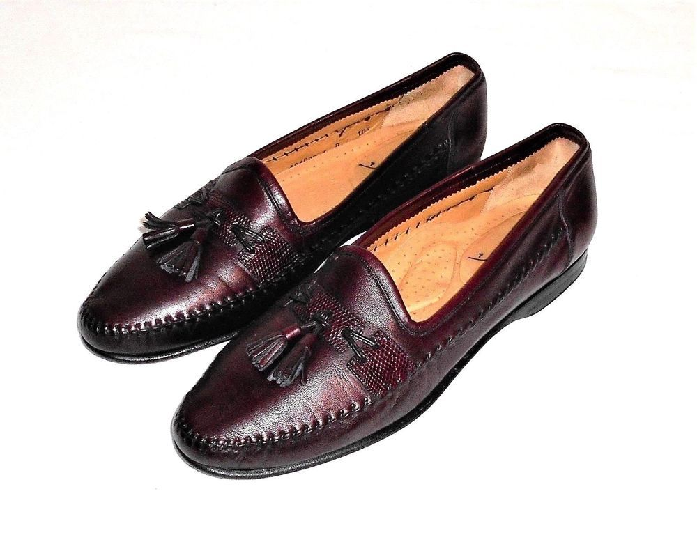 7e87e1d645 SamTom Burgundy Leather Tassel Loafer Slip On Made in Italy Men UK 10.5 US  11  SamTom  TasselLoaferSlipOn