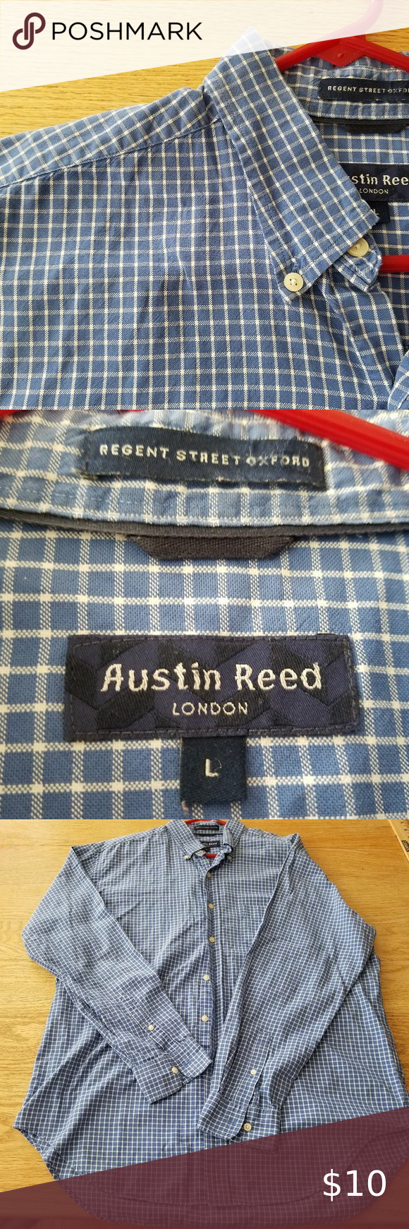 Austin Reed Mens Blue White Plaid Shirt L Austin Reed Blue Man White Plaid