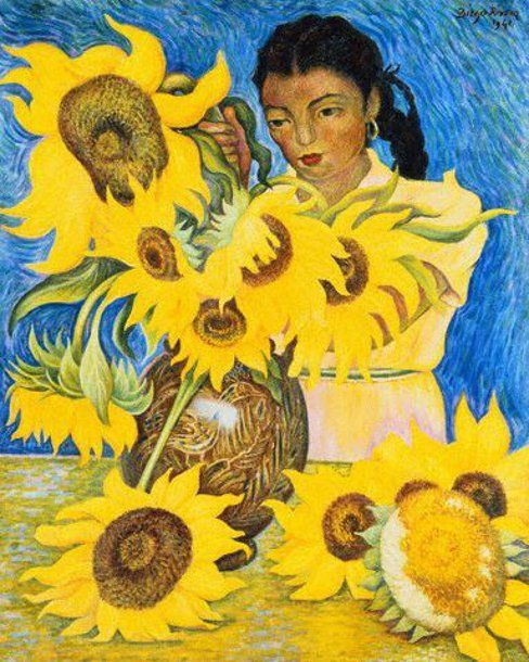 Diego Rivera (1886 – 1957, Mexican).  There were Diego Rivera sunflowers painted on the restaurant table.  Boxing Out Chapter 3