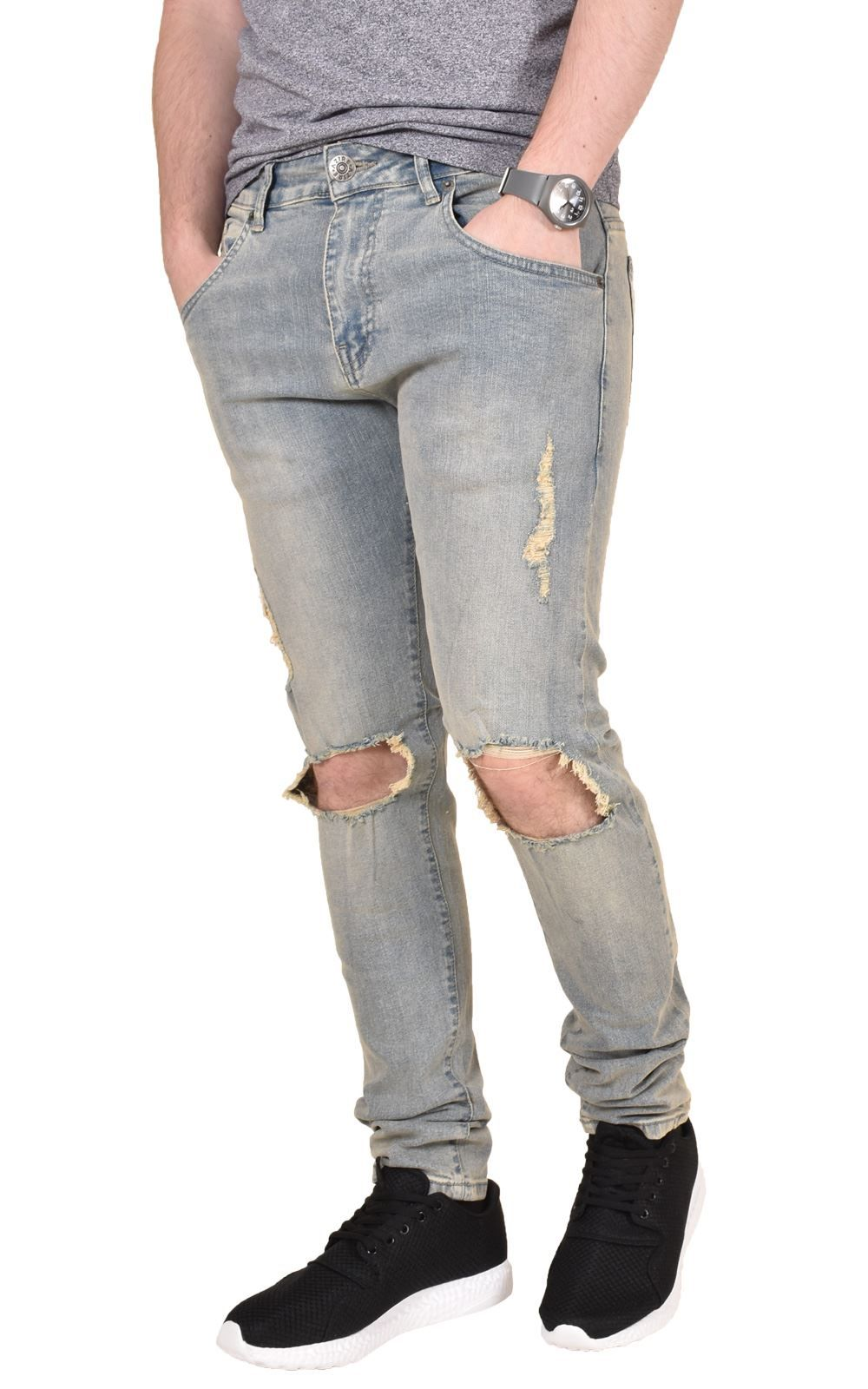 c9b7323d96 men ripped jeans Mens-Jeans-Knee-Ripped-Azire-Stretchable-Skinny-Fit-Branded-Denim-Logo-Casual  men ripped jeans ...