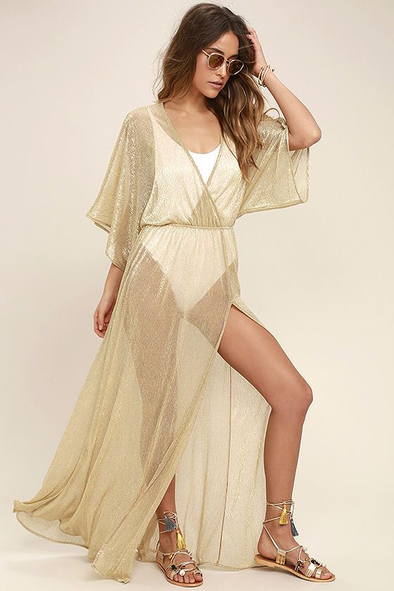 379de0d0b2ed Bring your love for glam to the beach with the Midas Sheer Gold Maxi Cover- Up! Sheer